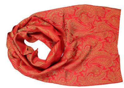 Seidenschal in Paisley rot/gold